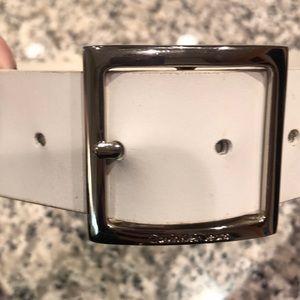 Calvin Klein white leather belt!
